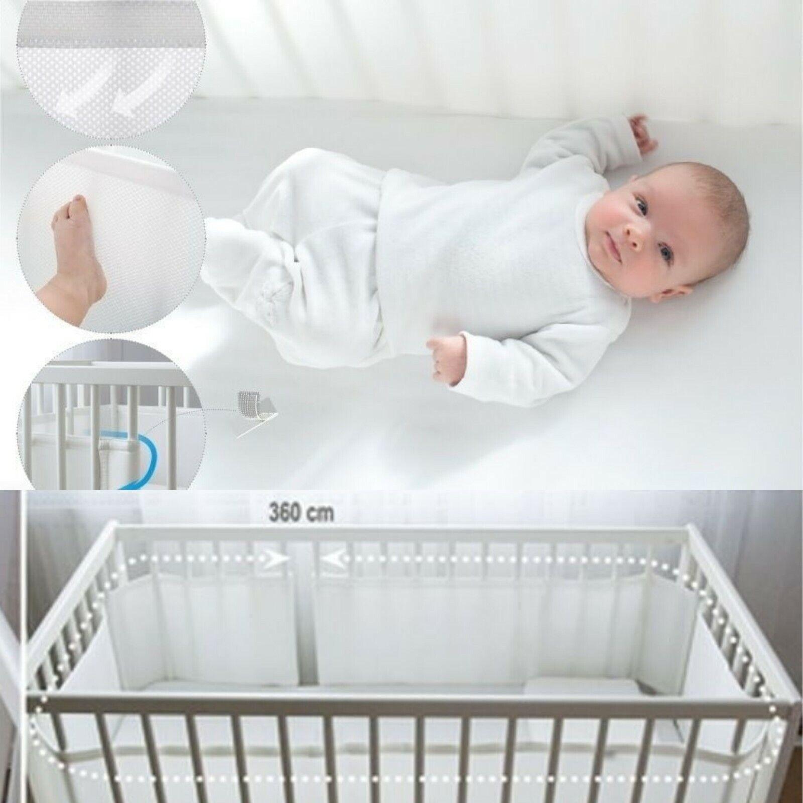 Airflow Safe 3D Mesh Crib Liner 4-Sided Crib Bumper Baby Boys Girls Nursery Breathable Crib Bed Liner Bumper Set