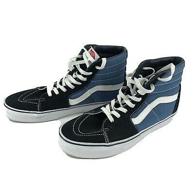 VANS SK8-HI EUC NAVY BLUE SIZE M 10.5 W 12 SUEDE AND CANVAS CLASSIC SKATE HIGH
