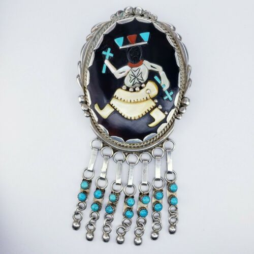 Zuni Ronnie Olivia Calabaza Sterling Silver Inlay Brooch Pendant Priest Kachina