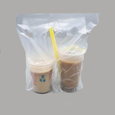 New Clear Plastic Carry Out Drink Bags for Two Cups 30x30+4cm Various QTY Carry Out 4 Cup