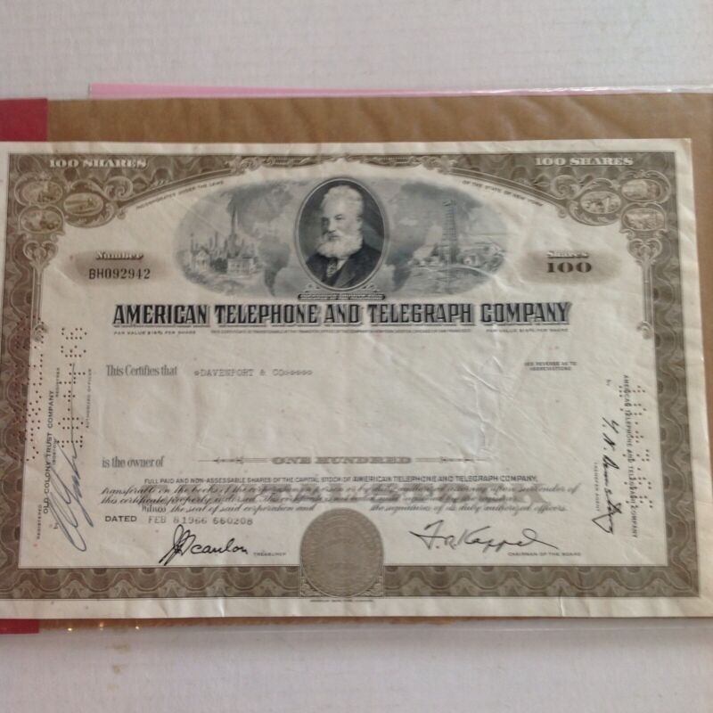 AMERICAN TELEPHONE AND TELEGRAPH 100 SHARE 1966 STOCK CERTIFICATE