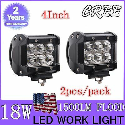 2X18W 4INCH Cree LED WORK LIGHT FLOOD BEAM OFFROAD DRIVING FOG LAMP Refitted CAR