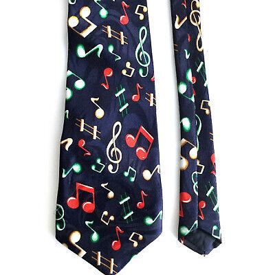 Notes Navy Blue Necktie - Steven Harris Musical Notes Tie Hand Made Novelty Necktie Navy Blue 59in Long