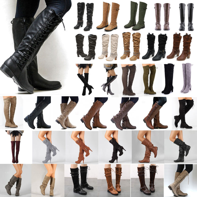 womens knee high lace up buckle winter