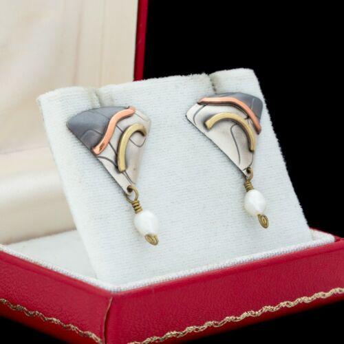 Vintage Designer Sterling Silver Mid Century Modern Style Pearl Cluster Earrings