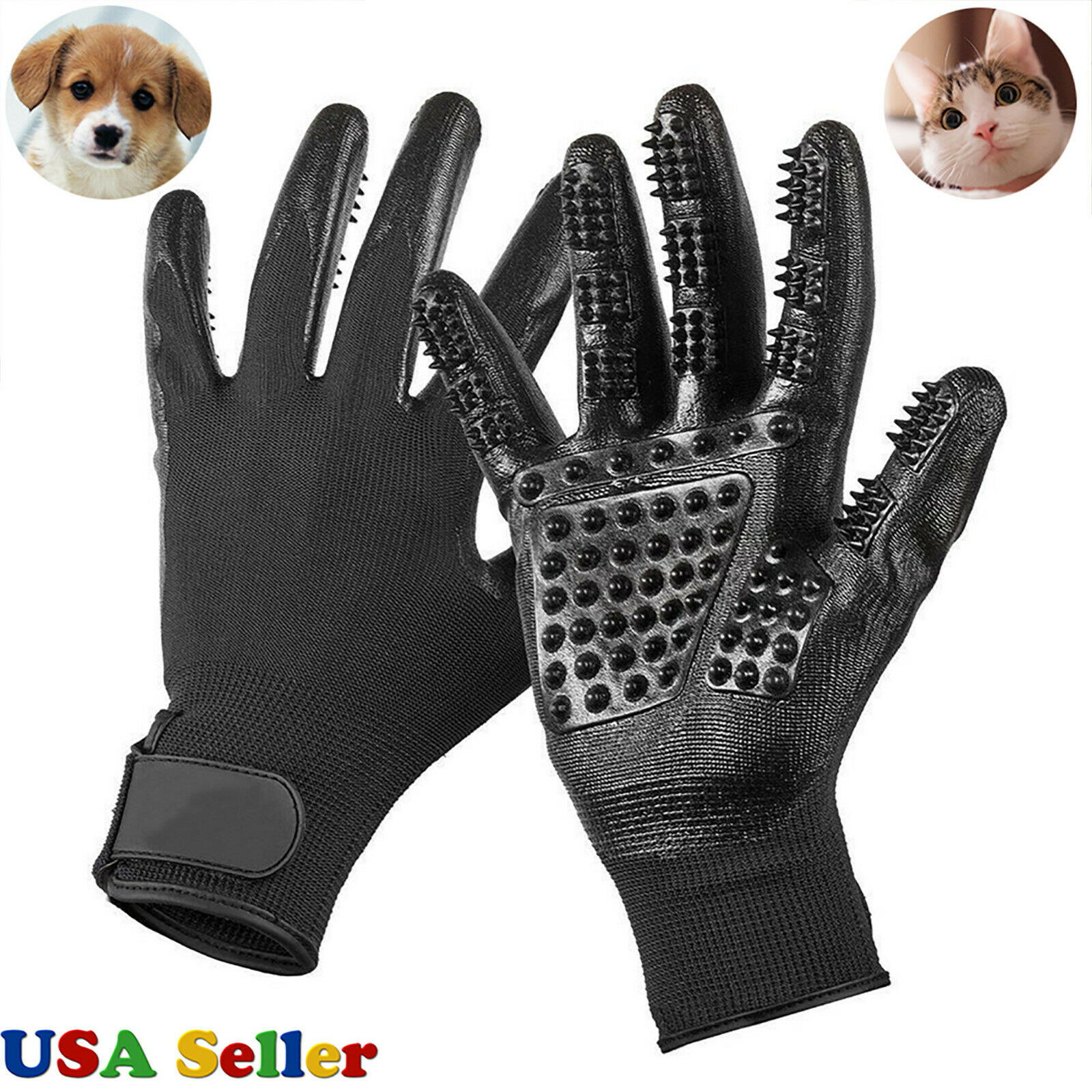 Pet Dog Cat Ninja Grooming Gloves Hair Fur Remover Bathing Shedding Massage Pair Brushes, Combs & Rakes