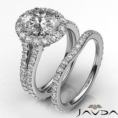 Bridal Set Halo Pave Oval Diamond Engagement Ring GIA G VS2 14k White Gold 2.8ct