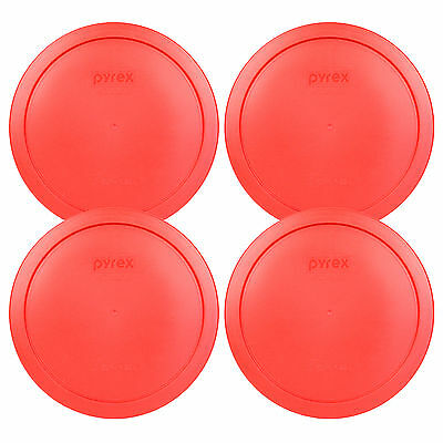 Pyrex 6/7 Cup Red Plastic Round Storage Lid Cover 7402-PC 4Pk for Glass Bowl New (Red Plastic Cup)