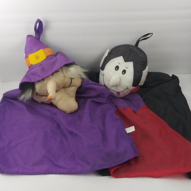 "Goffa Witch Dracula Vampire Plush Hanging Halloween Decor Prop x2 Vintage 24"""