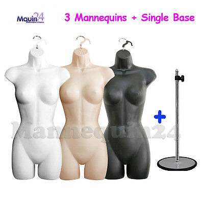 3 Mannequin Female Torsos Set White Flesh Black Dress Forms W3 Hangers 1 Stand