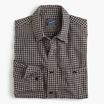 New J Crew Midweight Flannel Shirt Plaid Button Up Long Sleeve Tan Navy NWT - Midweight Crew Shirt