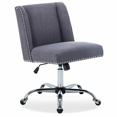 Fabric Task Chair Nailhead Trim Swivel Office Desk Chair Adjustable Height Gray