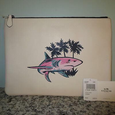 COACH CHALK LEATHER SHARK LARGE ZIP POUCH IPAD TABLET SLEEVE-$195+