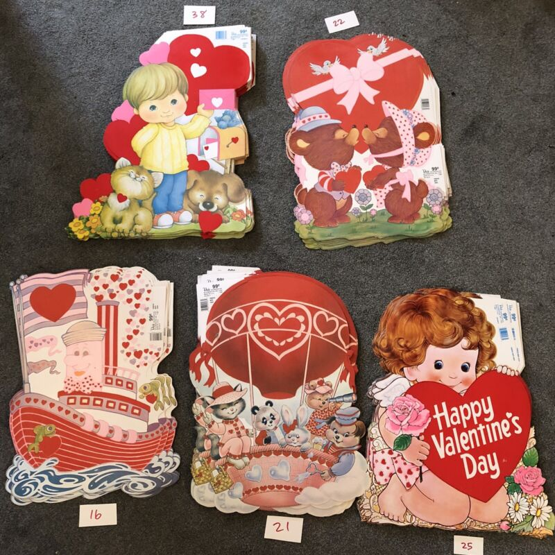 "Vintage 80s 19"" Valentines Day Die Cut Decorations Double Sides - Lot of 122"
