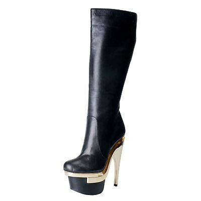 Versace Women's Black Leather High Heel Platform Boots Shoes US 8.5 IT 38.5