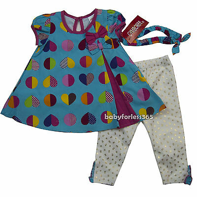 NWT Gymboree Baby Girls Shirt legging & Matching Headband Size 3 6 9 months