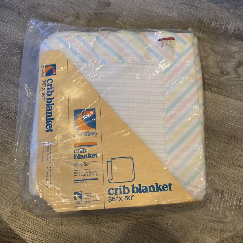 Vintage Carters Acrylic Baby Crib Blanket White  Nylon 36x50 NOS.