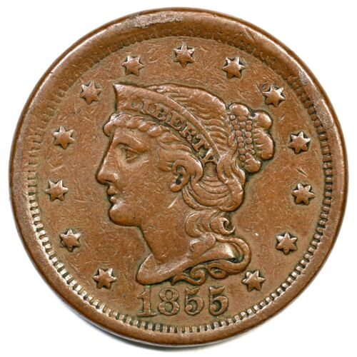 1855 Upright 55 Braided Hair Large Cent Coin 1c