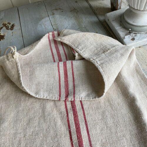 Pink  fabric grainsack grain sack hand woven linen hemp  textile feed bag