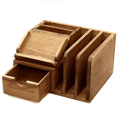 Rustic Wood Desk Accessory Storage Organizer Post It Note Memo Pad Holder