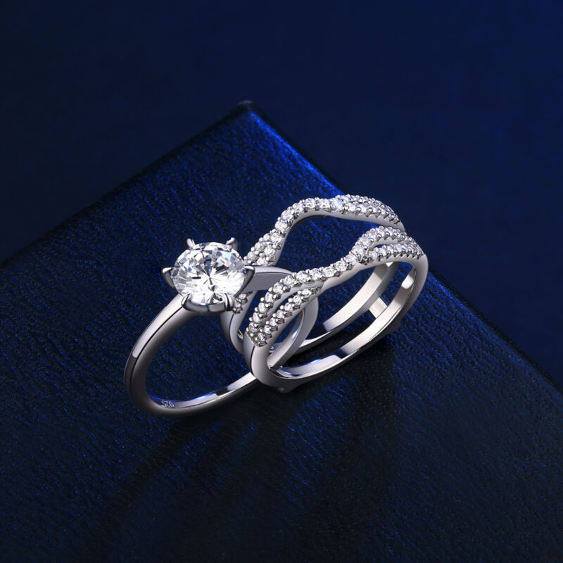 Wedding Engagement Ring Set For Women 1.9ct Round Cz 925 Sterling Silver Sz 5-12