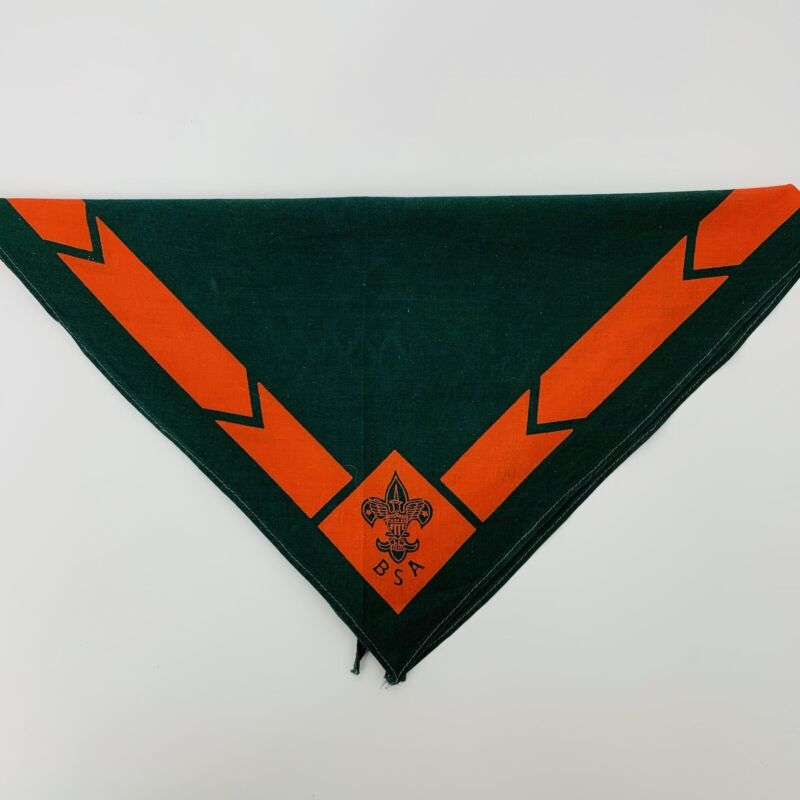 Vintage Boy Scout Neckerchief Green and Red with BSA Symbol