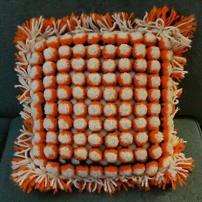 Vintage Handmade Crochet Retro Groovy Pompom Retro Boho Pillow