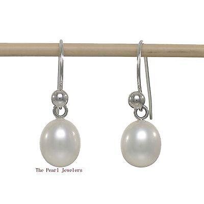 AAA White Cultured Pearl Dangle Earrings 14k White Gold Fish Hook Gold Ball TPJ