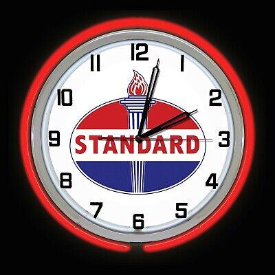 "19"" Standard Oil Gas Vintage Logo Sign Red Double Neon Clock Man Cave Garage"
