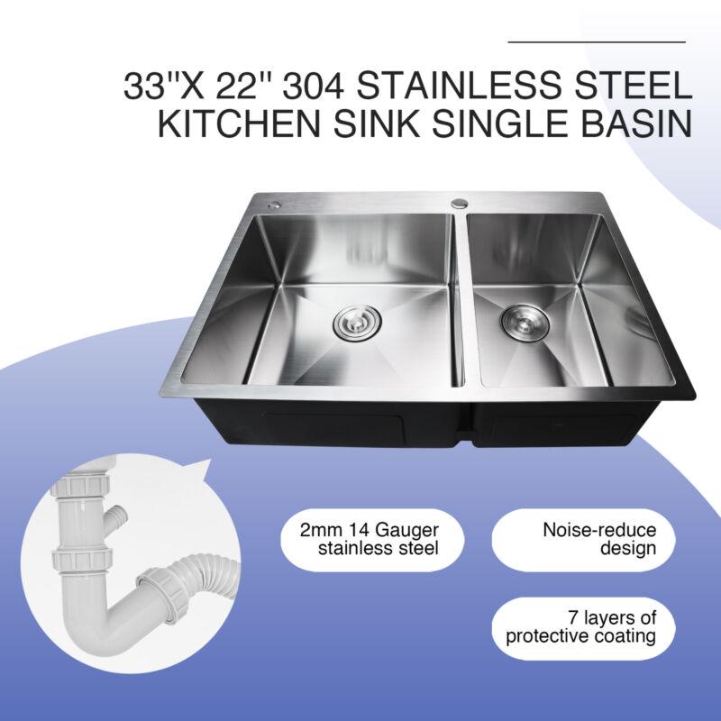 "33""x22""x9"" Top Mount Kitchen Sink 304 Stainless Steel Sink w/ Tray Drain Set"