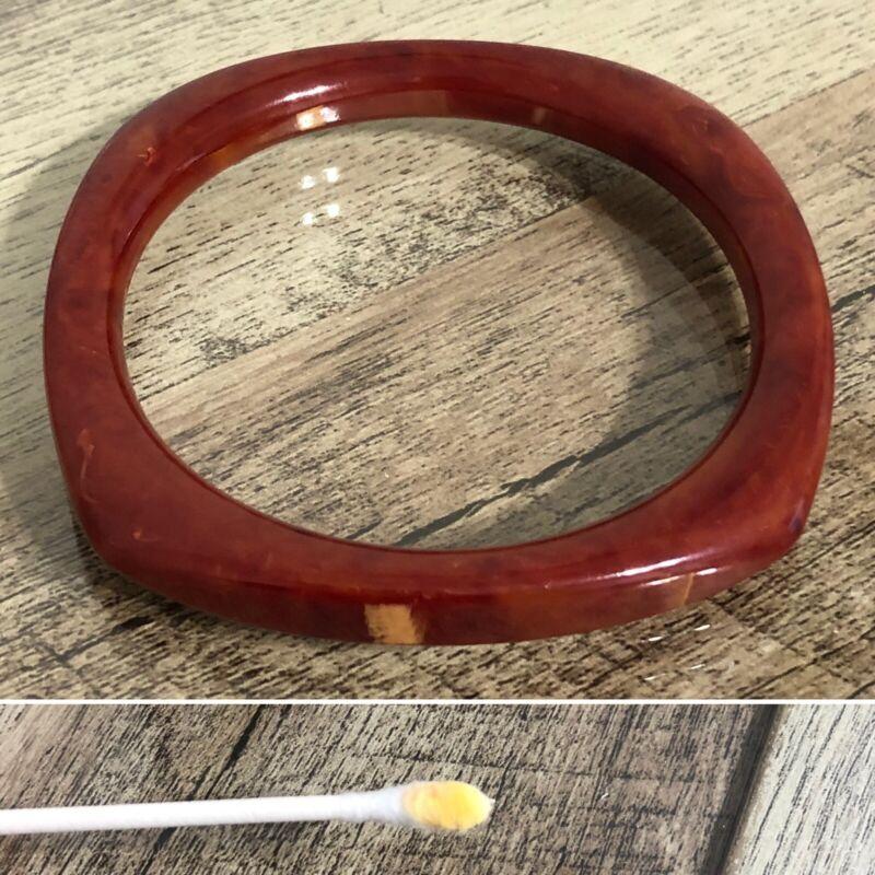 Vintage Red Marbled Square Bakelite Bangle Bracelet