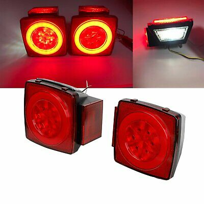 """Pair Red LED Submersible Stop Brake Trailer Tail Lights Square 80"""" License"""