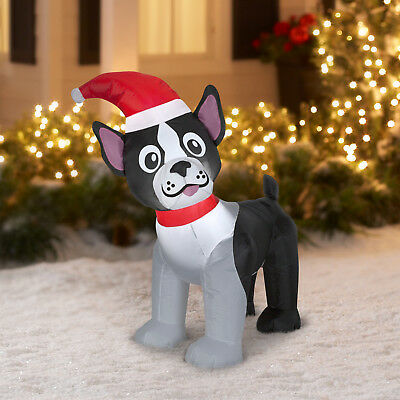 4' Gemmy Airblown Inflatable Christmas Boston Terrier Santa Hat Outdoor Holiday