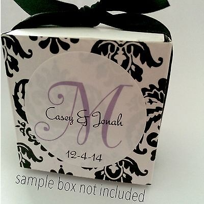 48 (1.67'') Personalized Wedding Favor Labels Stickers Monogram New GLOSSY! ()