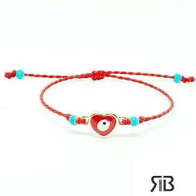 Evil Eye String Red Bracelet  Charm Protection Evil Eye Bracelet Heart Evil Eye