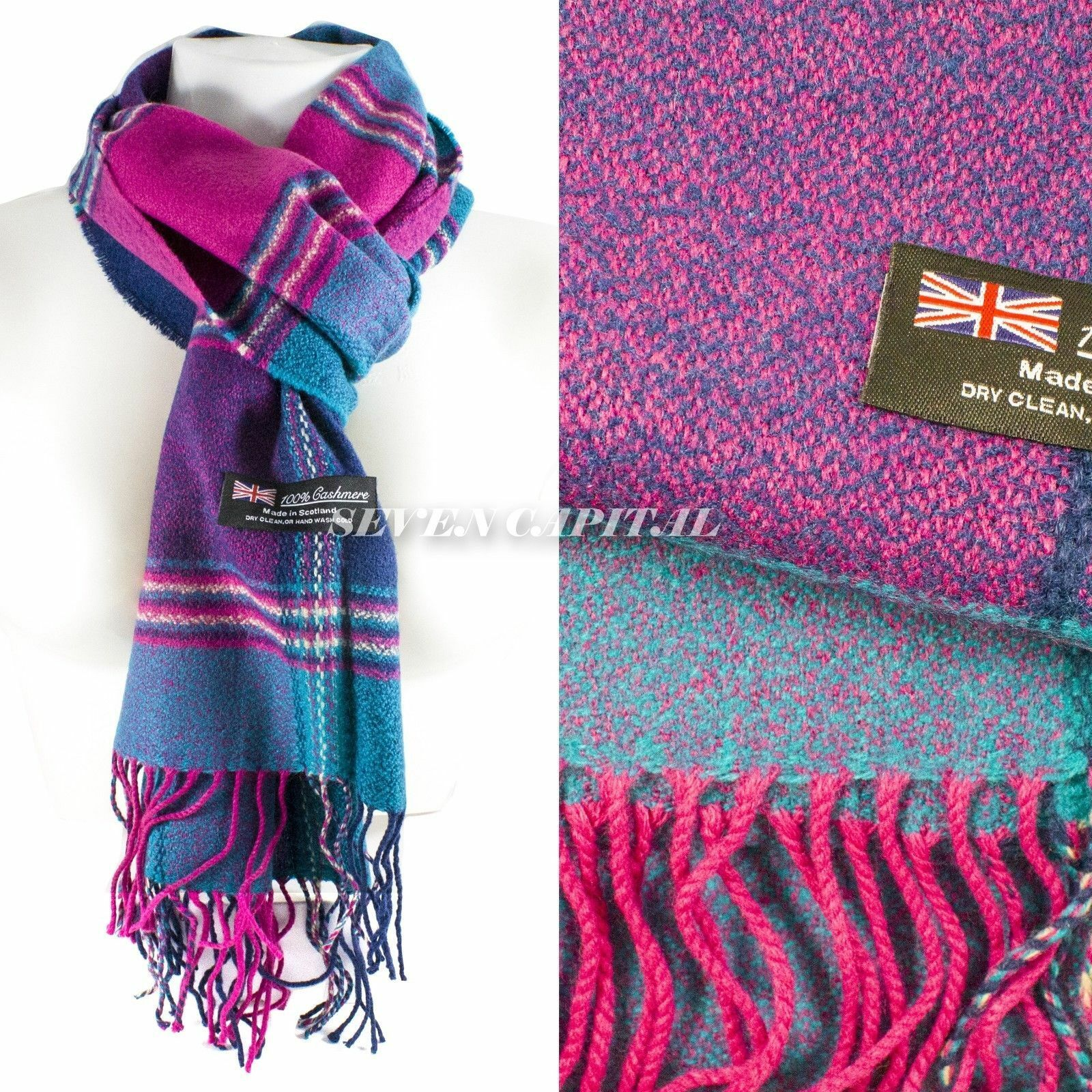 Mens Womens Winter Warm SCOTLAND Made 100% CASHMERE Scarf Scarves Plaid Wool 56. Multiple: Purple/Pink