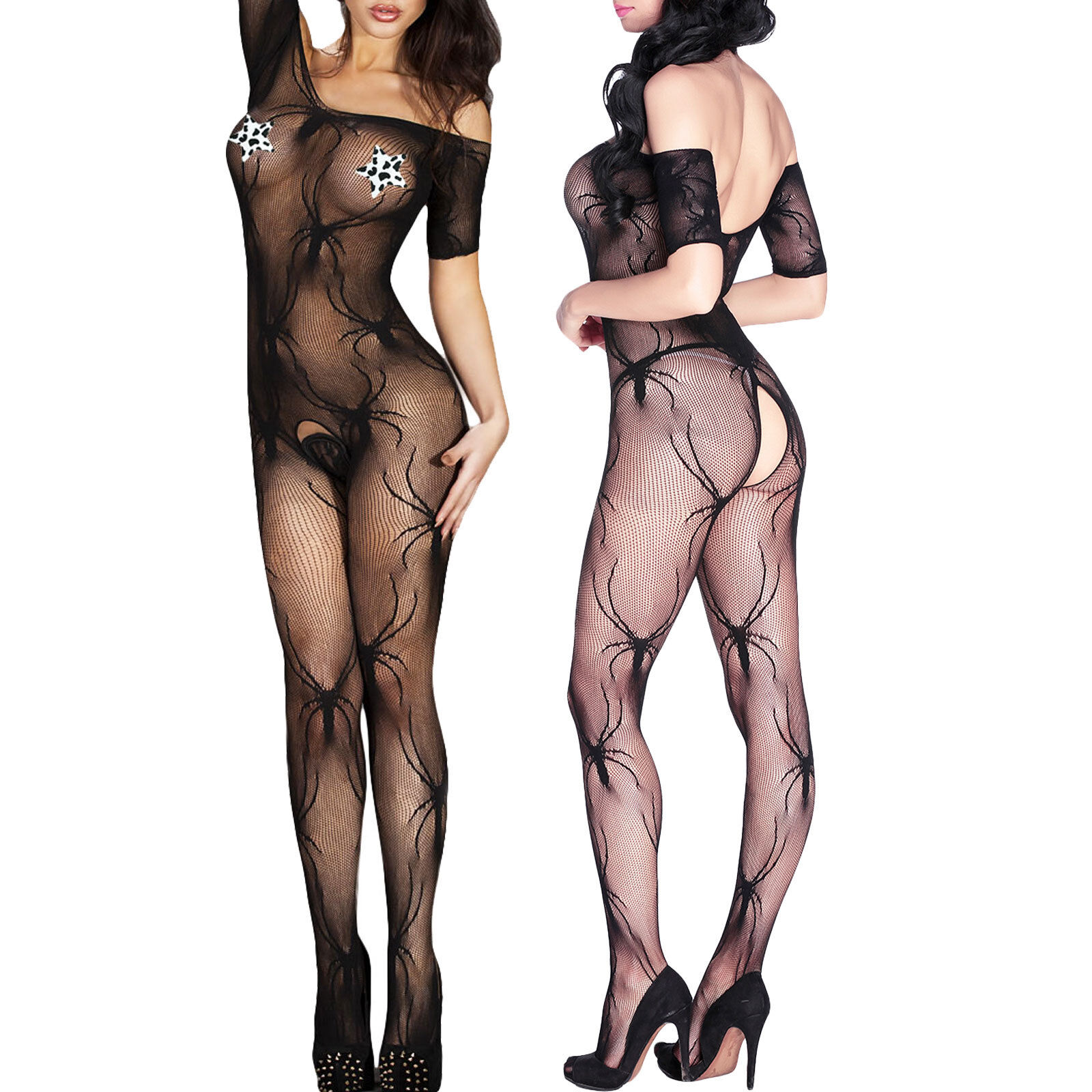 d44986d7143 Tutina donna intimo bodystocking catsuit crotchless pizzo sexy lingerie