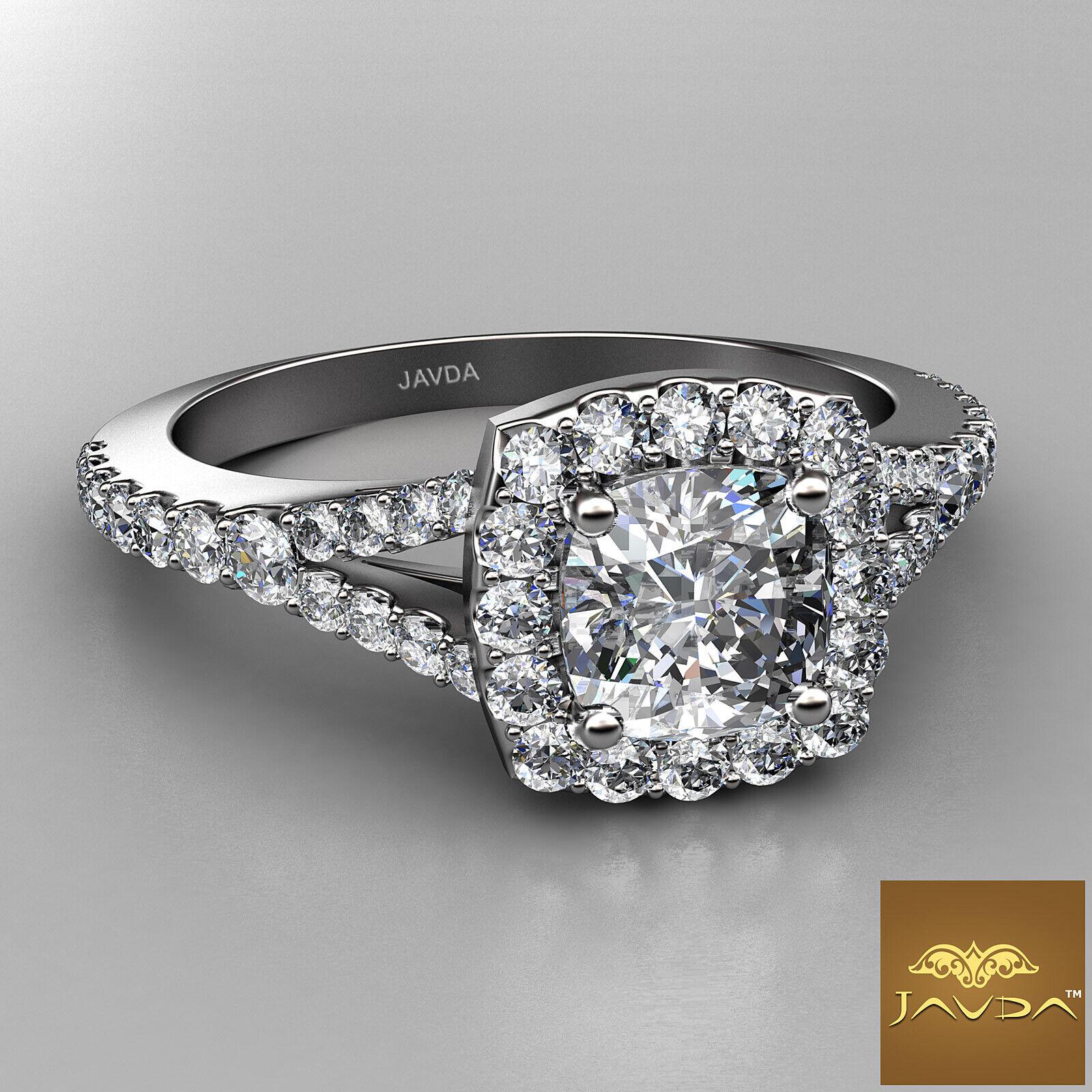 Cushion Shape Diamond Engagement GIA G VVS2 Halo Pre-Set Ring 18k White Gold 1Ct 1