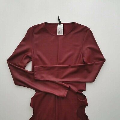 Burgundy Mini Dress Long Sleeve With Side Hip Cut Outs Size M Brand New