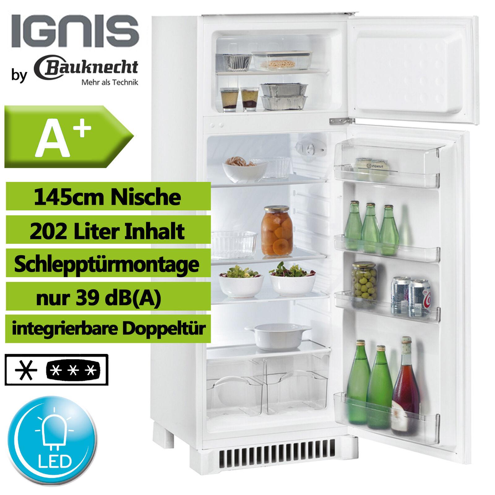 Einbau Kühl Gefrierkombination A+ Kühlschrank 145cm by Bauknecht integrierbar