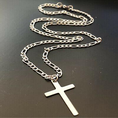 Collana con ciondolo croce in acciaio inox da uomo catenina rosario crocifisso