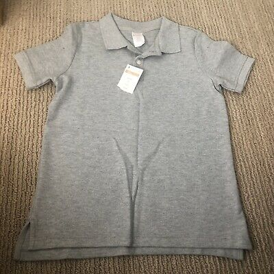 Brand new Boys' Gymboree Gray Polo Shirt size 5/6 Collar Uniform Twins
