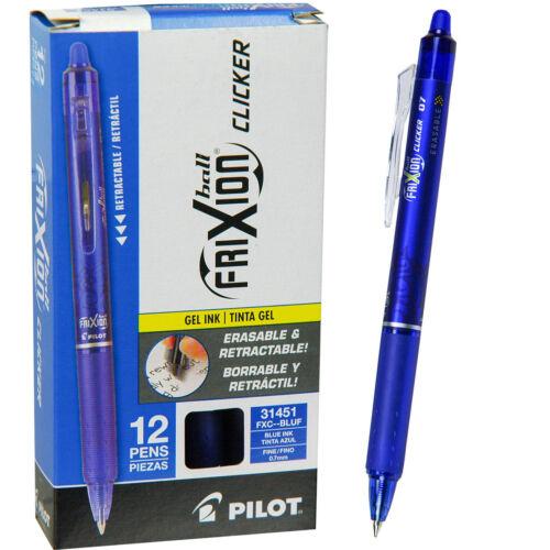 Pilot FriXion Clicker Erasable Gel Pens, 0.7 mm, Blue, Pack of 12