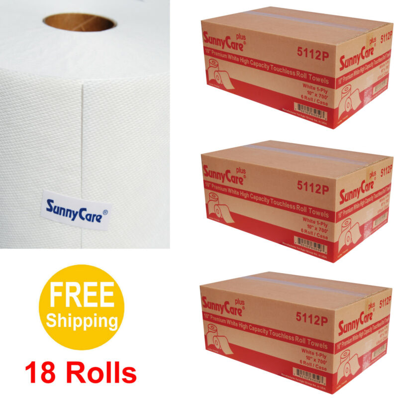 "10"" Premium White High Capacity Touchless Paper Towel Rolls 700"