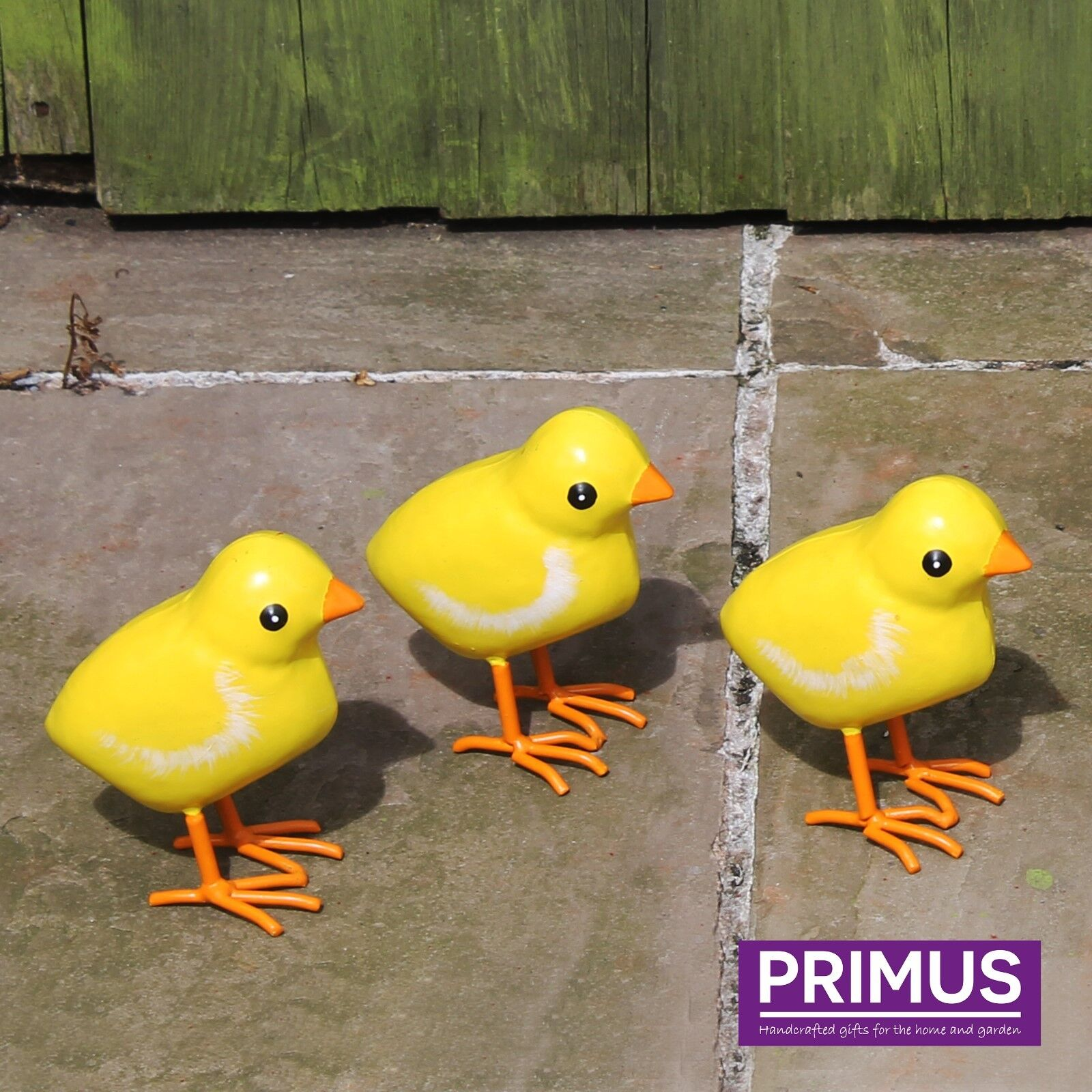 Primus Set of 3 Small Hand Crafted Metal Chicks Garden Baby Chick ...