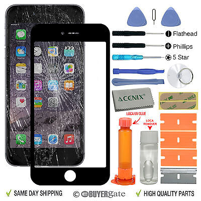 Apple iPhone 7 Black Outer Front Glass Screen Replacement Repair Kit + UV Glue
