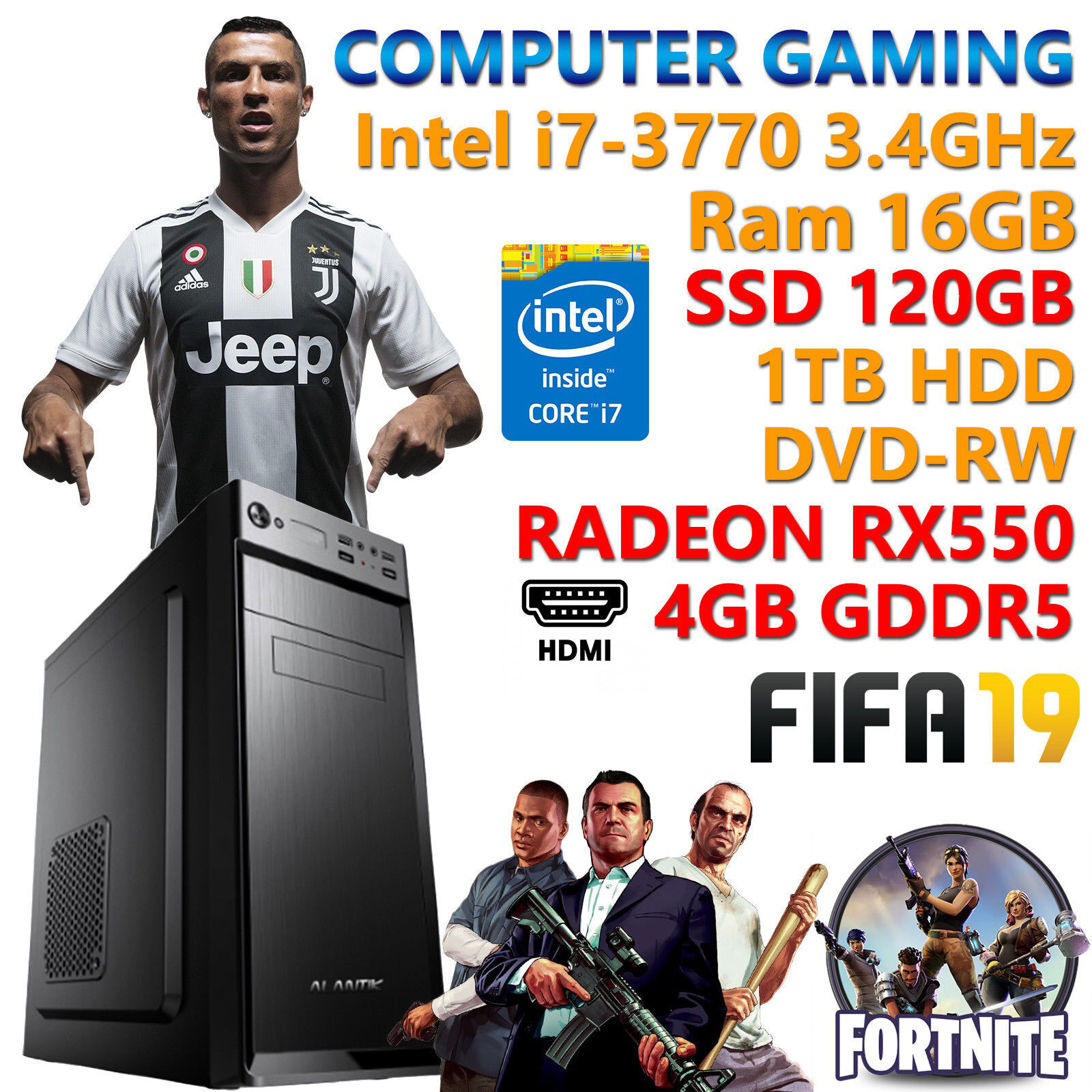 computer game - PC Computer Game Gaming Quad Core I7-3770 RAM 16 GB SSD 120gb HDD 1tb Rx 550 4gb