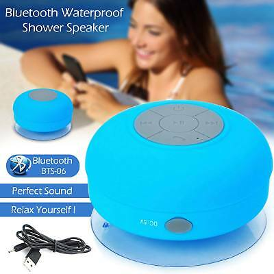 NEW WIRELESS BLUETOOTH SPEAKERS HANDSFREE MIC WATERPROOF BATHROOM SHOWER SPEAKER