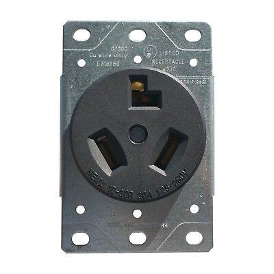 30 Amp Flush Mount Dryer Plug Receptacle 3 Wire Power Outlet 125 250v 10-30r