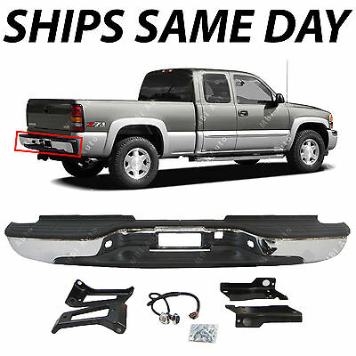 NEW Chrome Complete Rear Bumper for 1999 2007 Chevy Silverado Sierra 2500HD 3500